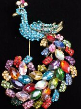 TEAL BLUE PINK GREEN RHINESTONE PHEASANT PEACOCK BIRD PIN BROOCH JEWELRY 2.75""