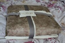 Pilot Jacket Throw Faux Leather Sheepskin Luxury Fur Throw over Warm Natural
