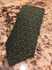 Hermes Paris Men's Tie Green Blue And Gold Print 100% Silk