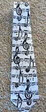 MUSIC STAFF SYMBOL Treble Cleff Notes Man's Theme Neck Tie, Black & White