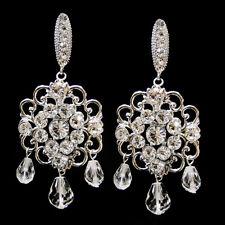 Antique Rhodium Silver Clear Swarovski Crystal Bead & Rhinestone Earrings #2863