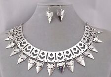Silver Metal Bib Necklace Earrings Set Pointy Dangles Fashion Jewelry NEW