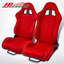 PAIR TYPE-1 FULL RECLINABLE BUCKET RACING SEAT RED / RED STITCH - UNIVERSAL