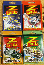 IDEAL PARTY BAG GIFT - 4 packs ZCardz mini models: aircraft & military vehicles