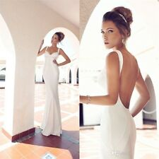 Sexy Backless Beach Bridal Gown 2015 White/Ivory Mermaid Garden Wedding Dress