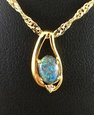 Opal Triplet Necklace Pendant w Cubic Zurconia and Certificate 18ct Gold Plated