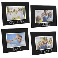 Black Glass Photo Frame with Clear Gems - Dad, Mum, Family, Sisters or Friends