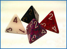 Single 4 Sided D4 chessex Opaque Dice x 1  - random colour counter