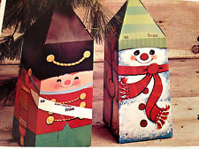 VINTAGE PECK SET OF 2 LARGE SOLDIER & SNOWMAN XMAS GIFT BOXES 4.5 X 4.5 X 12.5