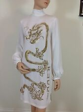 EMILIO PUCCI UK 10-USA 8-I 42 BLOUSON SLEEVE WHITE TUNIC DRESS-DRAGON ORIENTAL