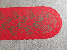 New Red& Green Lace Regency table runner/ Mantel scarf 74 x 14