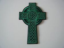 CELTIC CROSS PATCH Green Embroidered Iron On Christian Crucifix Irish Badge NEW