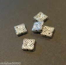 LOT 5 PERLES METAL ARGENTE CARRE COLLIER 7 mm SILVER COLOR BEADS SQUARE FINDINGS
