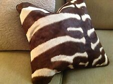 "Wonderful African Zebra Skin Pillow Cover - Genuine - Measures 20"" x 20"""