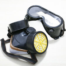 Dual Cartridge Respirator Breath Mask Gas Safety Anti-Dust Goggles Paint Escape
