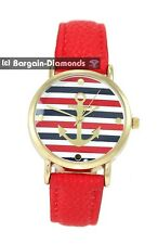 ladies navy anchor red white blue gold tone fashion watch leather nautical boat