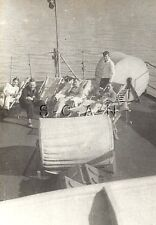 WWII German Navy Large RP- Kriegsmarine- Sailor Sit on Deck- Flag- Deck Chairs