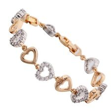18k White & Yellow Gold Filled Lovely Heart Clear Sapphire Lady Bracelet Bangle