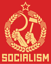 "Socialism USSR Soviet Union Political Slogan Car Bumper Sticker Decal 4"" x 5"""