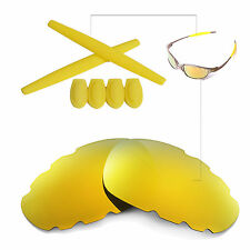 New Walleva Polarized 24K Gold Vented Lenses And Rubber Kit For Oakley Juliet