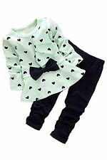 Zeagoo Fall Baby Girl Cute 2pcs Set Children Clothes Suit Top And Pants Green