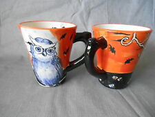MAXCERA Black Orange Owl Bats 4 Cups or Mugs 2014 Halloween Party