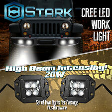 20W CREE SPOT LED Cube Pods Work Light Flush Mount Offroad Truck Jeep Square x2