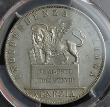1848, Venice (Provisional Government). Large Silver 5 Lire Coin. PCGS XF+