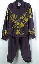 ATNY Womens Two Piece Purple Plum & Gold Tracksuit Leisure Suit Size Large