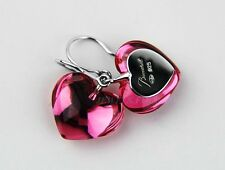 BACCARAT JEWELRY TOURMALINE BABY COEUR WIRE EARRINGS STERLING SILVER NEW FRANCE