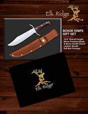 "Elk Ridge Full Tang Fixed Blade Bowie Knife Gift Set 14.5"" Overall"