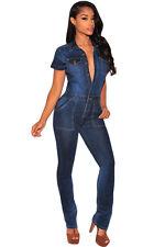 sexy women ladies summer Dark Denim Button Down clubwear Jumpsuit&romper trouser