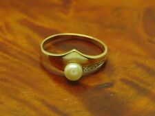 8kt 333 GOLD RING MIT DIAMANT & AKOYA-PERLEN BESATZ / DIAMANTRING