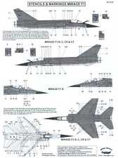 Berna Decals 1/48 DASSAULT MIRAGE F1 Fighter STENCILS AND MARKINGS
