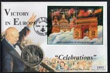 TURKS AND CAICOS 1995 VICTORY IN EUROPE 5c COIN COVER
