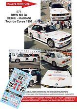 DÉCALS PROMO  1/24 réf 571 BMW M3 Gr DERIU - MARIANI Tour de Corse 1992