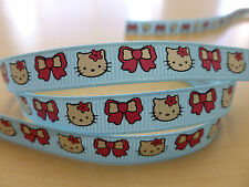"5 Metres ❤ Hello Kitty Face & Bow Blue ❤  grosgrain ribbon 3/8"" 9mm wide"