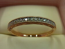 New 9 Carat Rose Gold Diamond Half Eternity Ring Size P