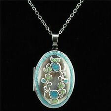 Dull Silver Alloy Enamel Blue Flower Diffuser Oval Photo Picture Locket Necklace