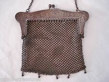 "Antique Mesh Purse Etched Flowers 5"" Marked Anchor German Silver Chainmail"