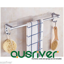 Space Aluminium Anodizing Finish Single Towel Rail Holder Rack Shelf Bar W/ Hook