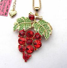 Betsey Johnson shiny Green crystal leaf Red grapes pendant Necklace,295L,R