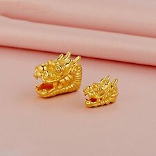 NEW REAL 999 24K Yellow Gold 3D Lovely Dragon Bead Pendant Small Size