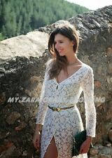 AUTHENTIC ZARA FLORAL LACE CROCHET GUIPURE LONG MAXI DRESS CELEBRITY  M UK 10/12
