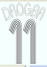 Chelsea Drogba 11 Euro 2006-2008 Home Football Name set  for National shirt