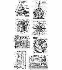 Tim Holtz Rubber Stamps - Blueprint Assortment - Camera, Cupcake, Sewing, Globe