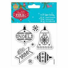 """Folk Christmas (Docrafts) - 4 x 4"""" Clear Paper Card Craft Card Stamp - Yum"""