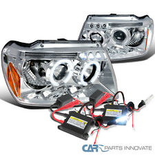 1999-2004 Grand Cherokee Chrome Halo LED Projector Headlights+H1 6000K HID Kit