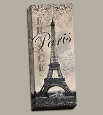 "NEW Stretched Canvas Eiffel Tower Vintage Travel Art Paris France 8x20"" French"
