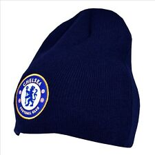 Official Chelsea FC Basic Embroidered Logo Navy Blue Beanie Winter Hat